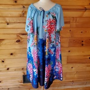 1970s Unlabeled Blue Multi-Color Floral, Polyester
